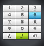 Белая кнопочная панель телефона номера Стоковые Изображения
