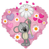 Коала с сердцами и цветком иллюстрация штока