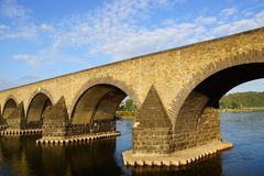 Кобленц, старый мост над рекой Мозел. Стоковые Изображения RF