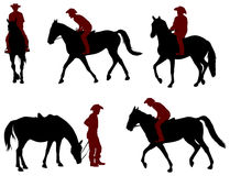 Ковбой ехать силуэты лошади иллюстрация вектора