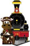 Ковбой и поезд коровы бесплатная иллюстрация