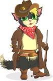 Ковбой кота Дикие Запады шерифа иллюстрация штока