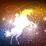 Ковбой на лошади с предпосылкой светов бесплатная иллюстрация