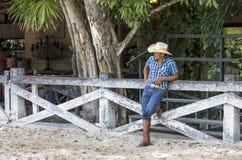 Ковбой на ранчо Стоковые Фото