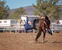 Ковбой падая Bucking лошадь Стоковая Фотография