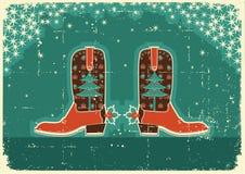 ковбой рождества карточки ботинок Стоковая Фотография RF