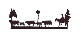 ковбой скотин buckaroos табуня его лошадь Стоковые Изображения RF