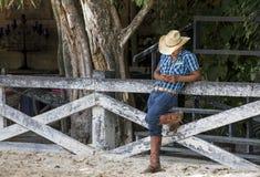 Ковбой с мобильным телефоном Стоковая Фотография