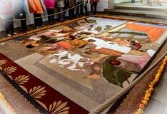Ковер плодоовощ сделанный из семян, зерен, высушенных и смолотых цветков и листьев, Германии Стоковые Фотографии RF
