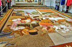 Ковер плодоовощ сделанный из семян, зерен, высушенных и смолотых цветков и листьев, Германии Стоковое Изображение RF