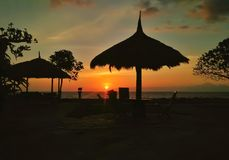Когда солнце идет вниз стоковая фотография rf