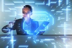 Когнитивная computive концепция с женщиной отжимая кнопки стоковая фотография rf