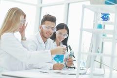 Когорта ученых обсуждает жидкость в склянке стоковые фото