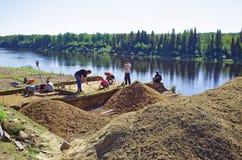 Когорта ученых проводит археологические раскопки в Сибире Стоковые Фото