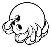 Коготь изверга животный держа шарик боулинга 10 Pin иллюстрация штока