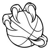 Коготь чудовища птицы орла держа шарик баскетбола иллюстрация вектора