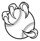 Коготь чудовища птицы орла держа шарик бейсбола бесплатная иллюстрация
