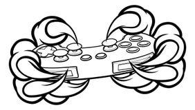 Когти Gamer изверга держа регулятор игр иллюстрация штока