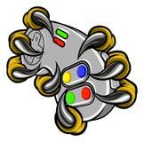 Когти Gamer изверга держа регулятор игр иллюстрация вектора