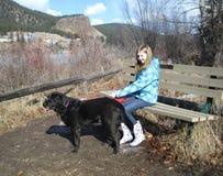 Девушка контролируя собаку Стоковые Изображения