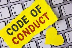 Кодекс поведения текста сочинительства слова Концепция дела для принципов Follow и стандарты для целостности дела написанной на S Стоковые Фото