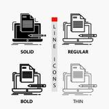 Кодер, кодирвоание, компьютер, список, значок бумаги в тонких, регулярных, смелых линии и стиле глифа r иллюстрация вектора