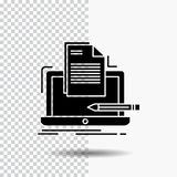 Кодер, кодирвоание, компьютер, список, значок глифа бумаги на прозрачной предпосылке r иллюстрация вектора