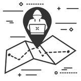 Кодер на значке бирки geo карты в ультрамодном плоском изоляте стиля иллюстрация вектора