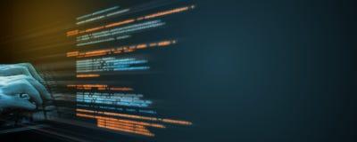 Кодирвоание источника программного обеспечения Программист используя палец печатая на клавиатуре с текстом верхнего слоя иллюстрация вектора