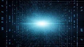 Код предпосылки бинарный Вычислять облака, IOT и AI искусственного интеллекта концепция иллюстрация вектора