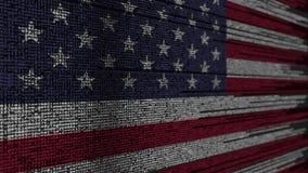 Код программы и флаг Соединенных Штатов Технология American Digital или программируя родственный перевод 3D иллюстрация штока