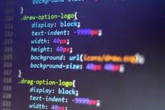 Код стиля CSS Исходный код компьютерного программирования Абстрактный экран веб-разработчик Предпосылка цифровой технологии совре Стоковое Изображение RF