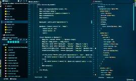 Код Css и php на темно-синей предпосылке, конце вверх Разделять кода css и php в редакторе кода, вид спереди стоковые изображения rf
