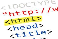Код HTML интернета Стоковое Изображение