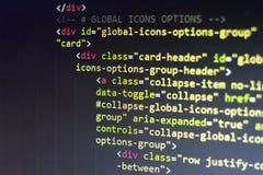 Код HTML Исходный код компьютерного программирования Абстрактный экран веб-разработчик Предпосылка цифровой технологии современна Стоковые Изображения RF