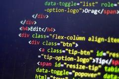 Код HTML Исходный код компьютерного программирования Абстрактный экран веб-разработчик Предпосылка цифровой технологии современна Стоковые Изображения