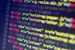 Код HTML Исходный код компьютерного программирования Абстрактный экран веб-разработчик Предпосылка цифровой технологии современна Стоковая Фотография RF