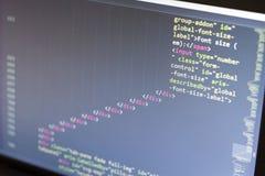 Код HTML Исходный код компьютерного программирования Абстрактный экран веб-разработчик Предпосылка цифровой технологии современна Стоковое фото RF