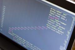 Код HTML Исходный код компьютерного программирования Абстрактный экран веб-разработчик Предпосылка цифровой технологии современна Стоковое Изображение RF