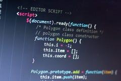 Код JavaScript Исходный код компьютерного программирования Абстрактный экран веб-разработчик Предпосылка цифровой технологии совр Стоковые Изображения RF