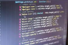 Код JavaScript Исходный код компьютерного программирования Абстрактный экран веб-разработчик Предпосылка цифровой технологии совр Стоковое Фото