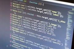 Код JavaScript Исходный код компьютерного программирования Абстрактный экран веб-разработчик Предпосылка цифровой технологии совр Стоковые Фотографии RF