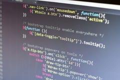 Код JavaScript Исходный код компьютерного программирования Абстрактный экран веб-разработчик Предпосылка цифровой технологии совр Стоковые Изображения