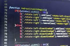 Код JavaScript первоначальный Исходный код компьютерного программирования Абстрактный экран веб-разработчик Стоковое фото RF