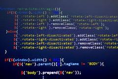 Код JavaScript первоначальный Исходный код компьютерного программирования Абстрактный экран веб-разработчик Стоковые Фото