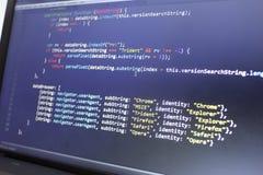 Код JavaScript HTML5 развития сети Обнаруживать код браузера Стоковое Изображение RF