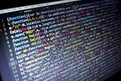 Код JavaScript HTML5 развития сети Предпосылка абстрактной информационной технологии современная Рубить сети Стоковые Фотографии RF