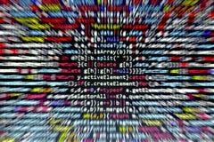 Код JavaScript Minificated Экран конспекта исходного кода компьютерного программирования веб-разработчик Backgrou цифровой технол Стоковое Фото