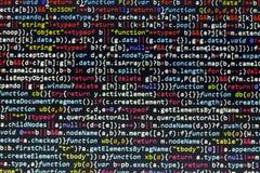 Код JavaScript Minificated Экран конспекта исходного кода компьютерного программирования веб-разработчик Backgrou цифровой технол Стоковая Фотография