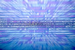 Код JavaScript Minificated Экран конспекта исходного кода компьютерного программирования веб-разработчик Backgrou цифровой технол стоковое изображение rf
